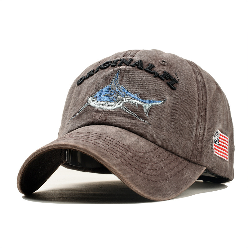 Embroidered Letter Shark Washed Baseball Cap