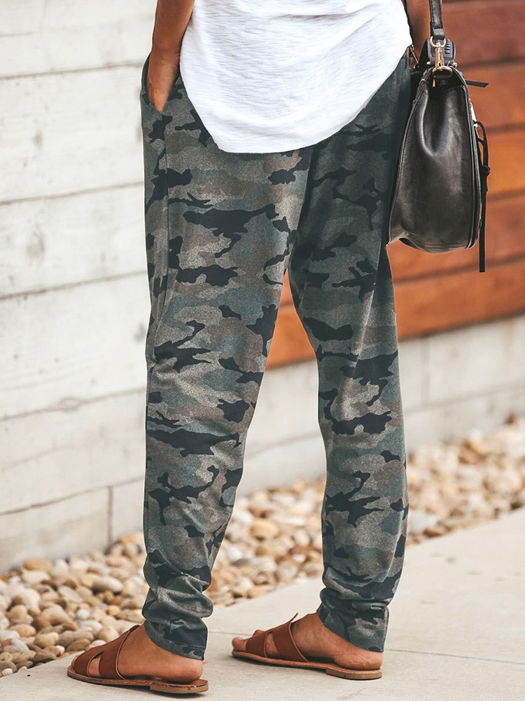 Women Camouflage Print High Elastic Waist Loose Loose Casual Pants
