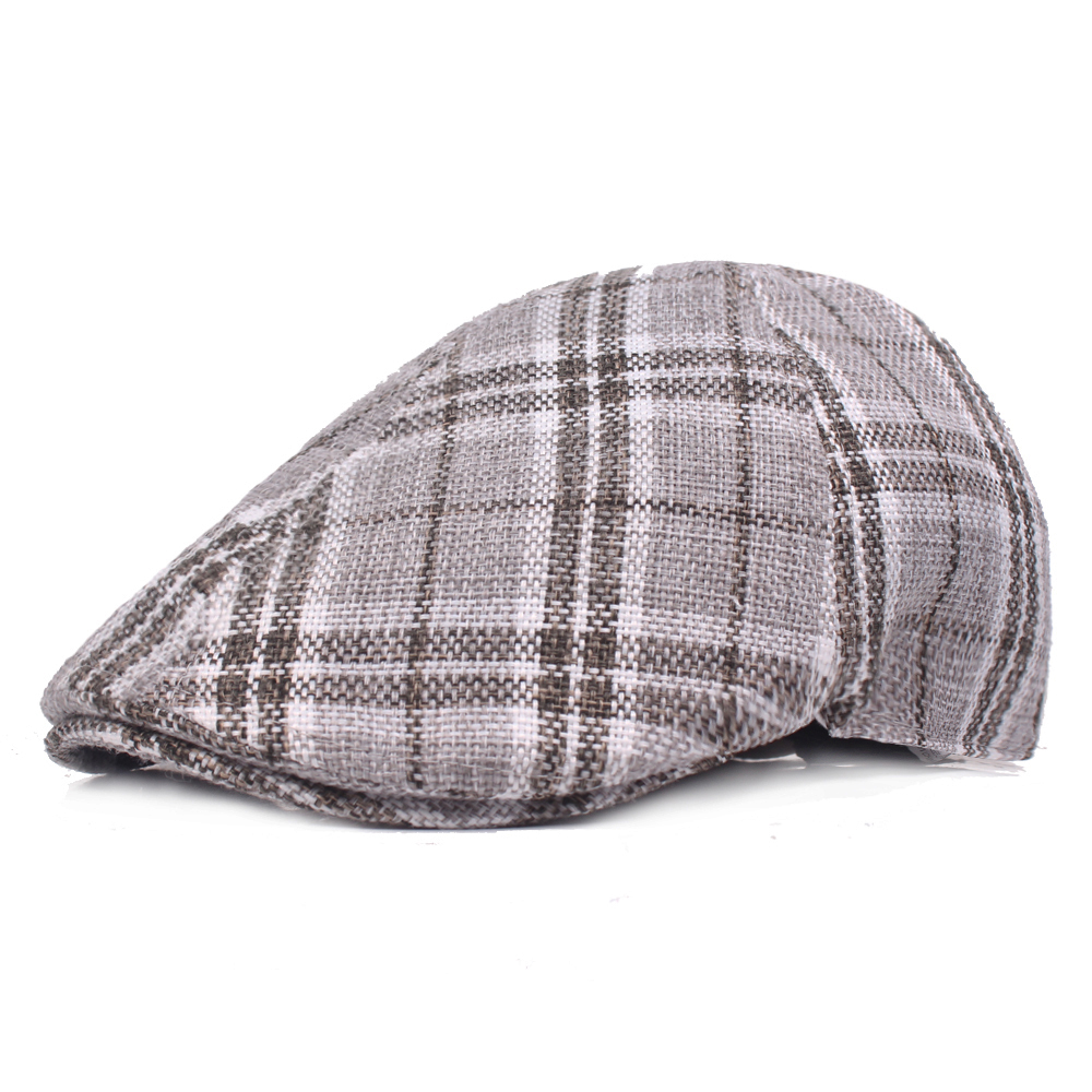 Men Women Outdoor Plaid Beret Hat Forward Cap