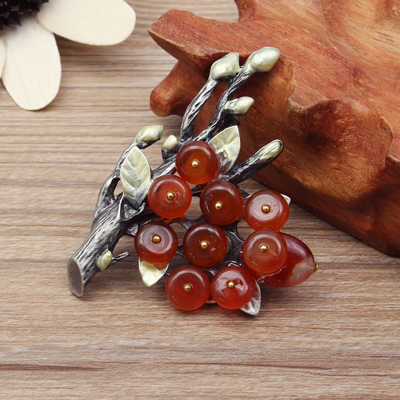 Vintage Branches Natural Agate Gem Brooch Pin