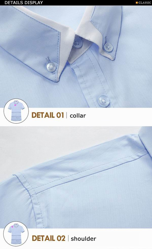 Mens Business Shirts Cotton Solid Double Layer Turn Down Collar Button Short Sleeved Dress Shirts