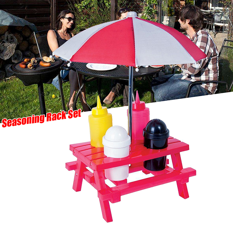 Camping Picnic Folding Table Parasol Seasoning Rack Salt Pepper BBQ Sauce Bottle Holder Set