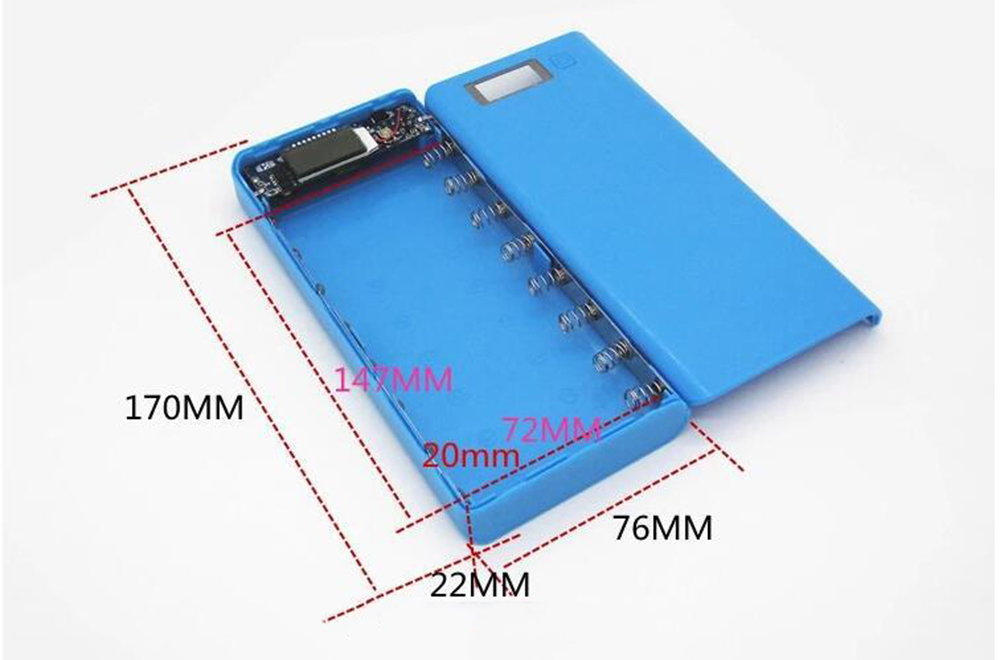 Bakeey 8 x 18650 2A 2 USB Ports LCD Display 20000mA Battery Case Power With LED Light Bank Box For iPhone X XS Xiaomi Mi9 Mi8 S9 S10