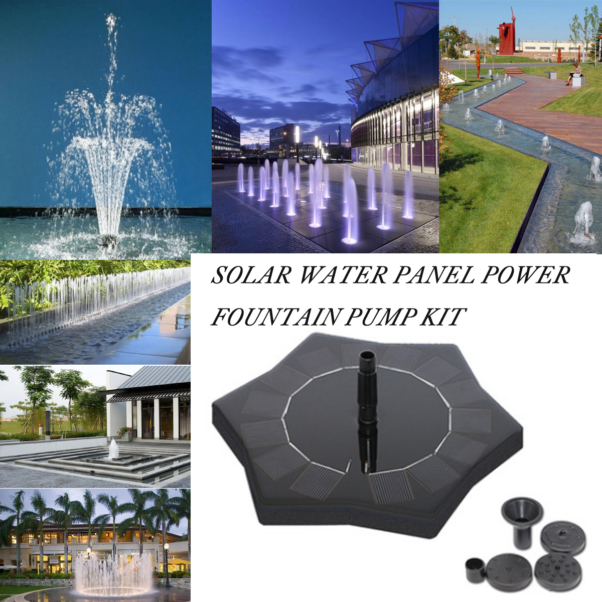 Solar Water Panel Power Fountain Pump Kit Garden Pool Aquarium Fountain Pond Tank Pump