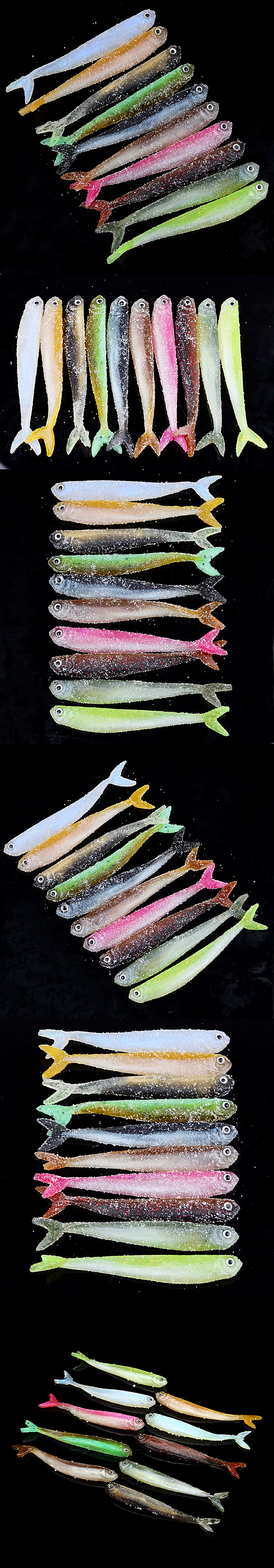 Proberos 10Pcs False Baits Fishing Lures 8.9cm Classic Soft Fishing Baits