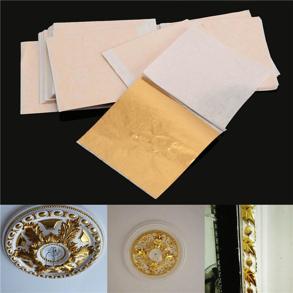 100pcs 8x8.5cm Champagne Gold Foil Leaf Gilding Sheets Set Crafts Decor