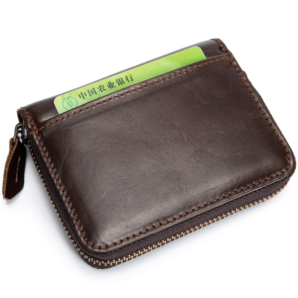 Bullcaptain Men RFID Antimagnetic Genuine Leather Wallet