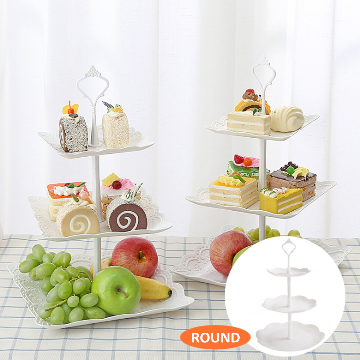 3 Tier Cake Stand Afternoon Tea Wedding Plates Party Embossed Display Tableware Cake Decorations