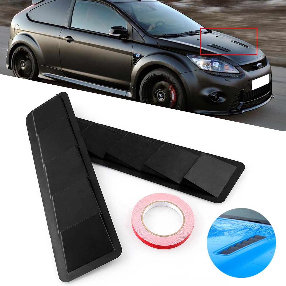 Universal Intake Panel Window Air Ventilated Blinds Air Outlet Trim Set Matte Black ABS