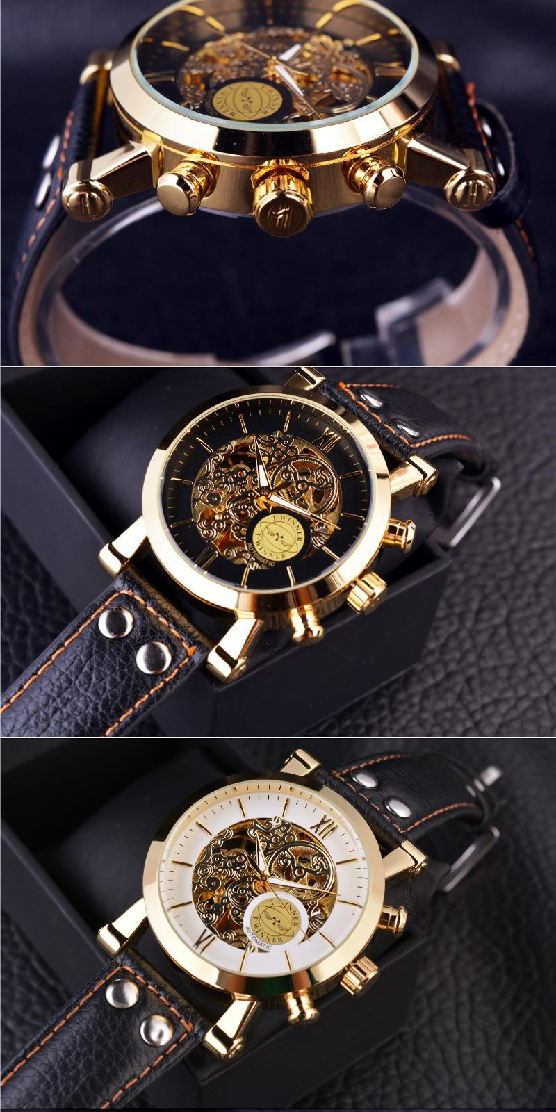 WINNER F081203 Automatic Mechanical Watch Luxury Leather Strap Men Wrist Watch