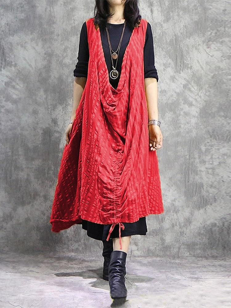 Plus Size Casual Sleeveless V-neck Drawstring Loose Dress