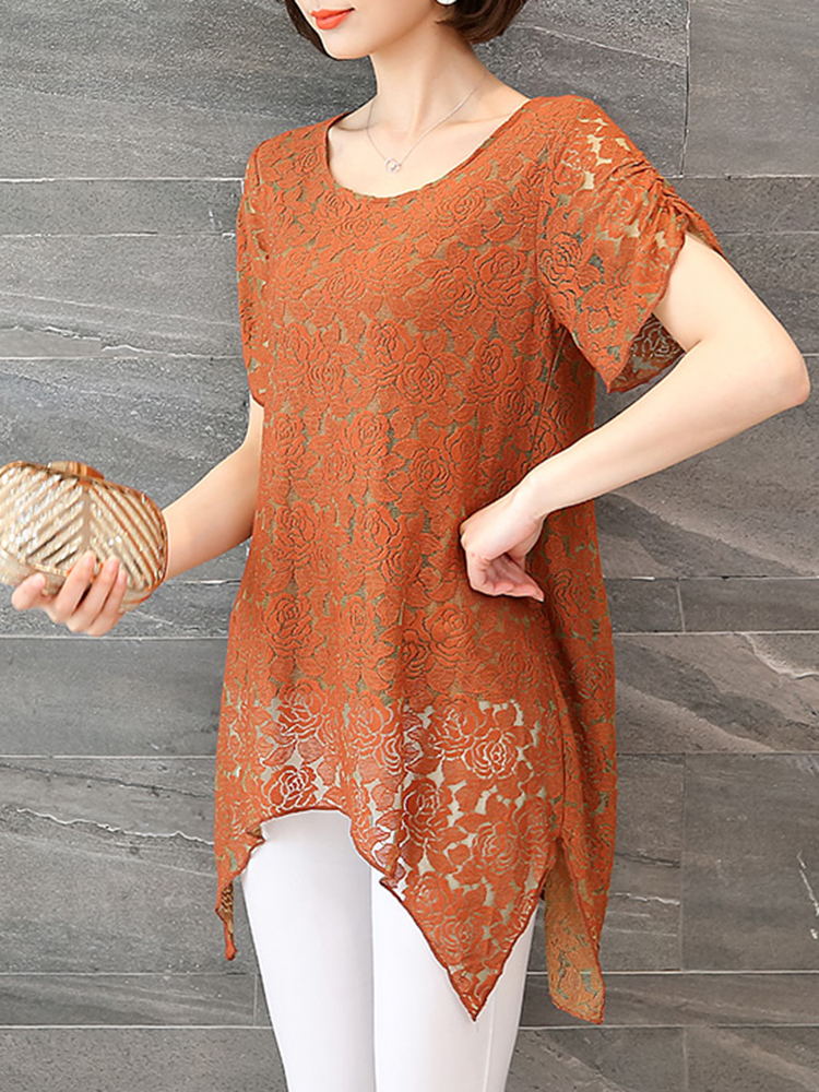 Cotton O-neck Lace Hollow Out Irregular Blouse