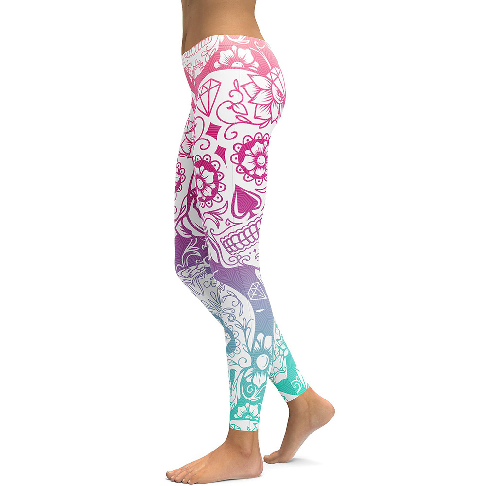 Women Winter High Elastic Skeleton Skull Halloween Pattern Digital Printing Fitness Yoga Pants