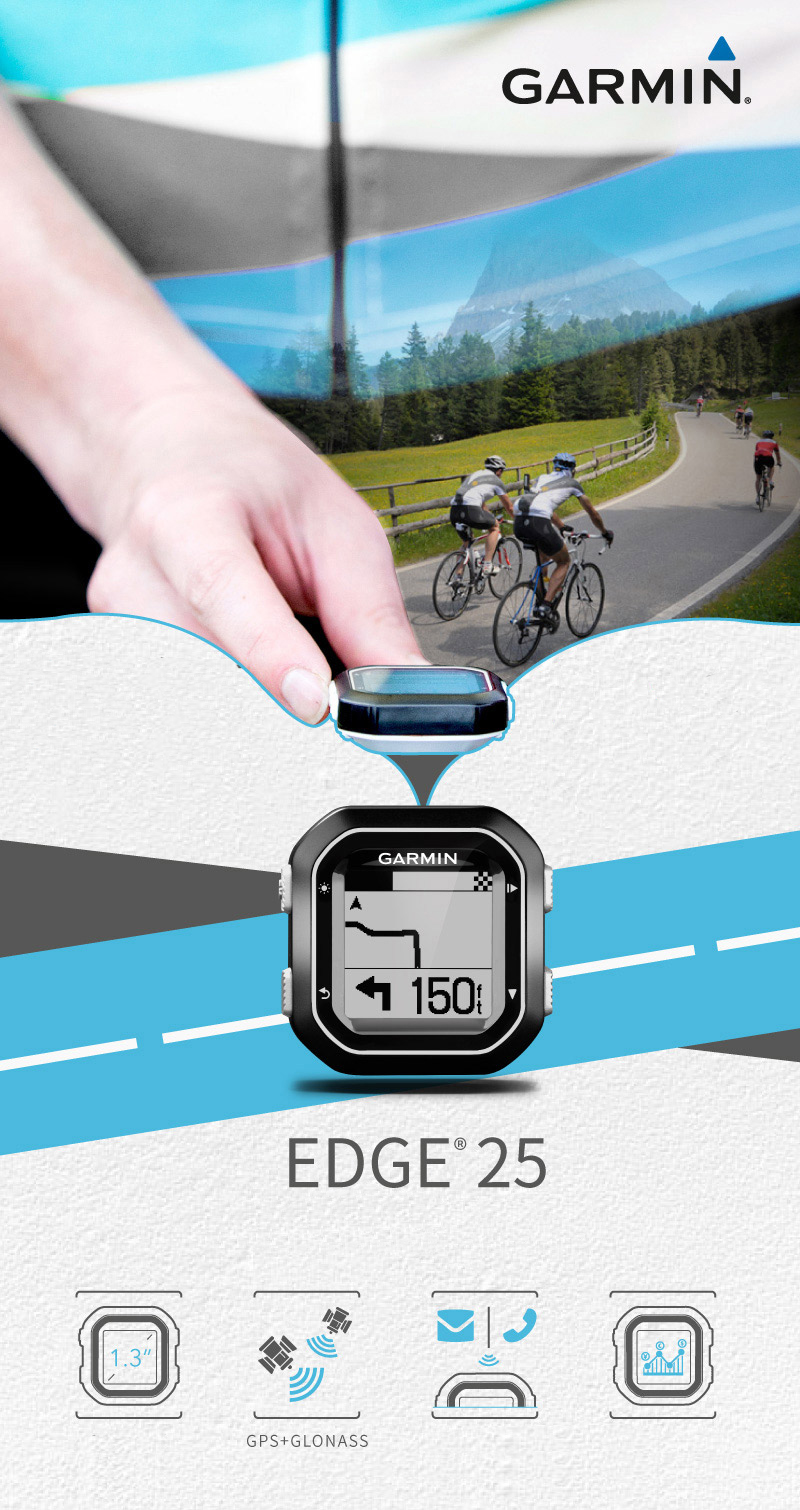 Garmin Edge 25 Ultralight Bicycle GPS Wireless Computer IPX7 Waterproof Stopwatch with Connected Features Professional Data