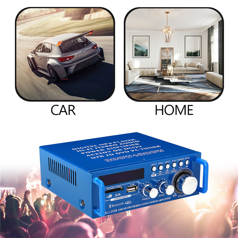 600W Mini 2CH HiFi Digital Audio Stereo Amplifier Bass Bluetooth FM Radio Amplifiering Equipment