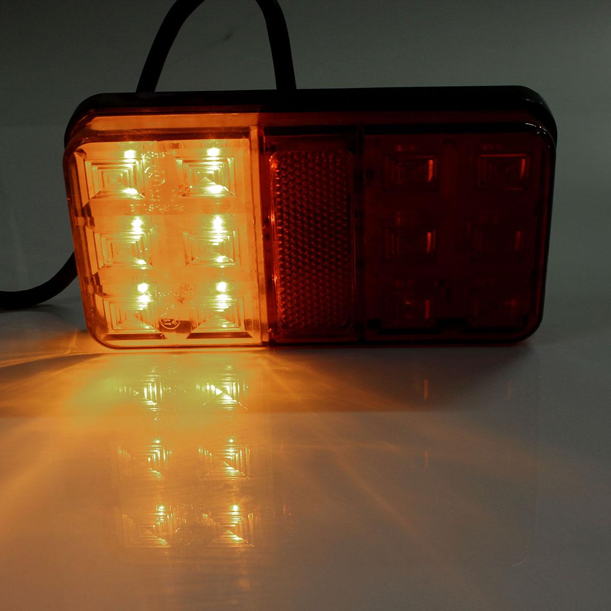 Pair Trailer Truck Lorry Caravan LED Rear Tail Brake Stop Light Indicator Lamp 12V
