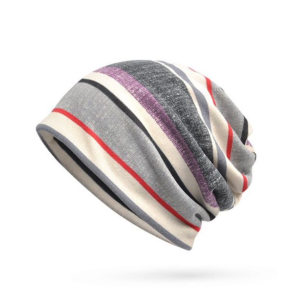 Mens Women Knitted Stripe Beanie Cap Soft Multifunction Winter Collar Scarf