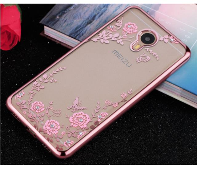Ultra-Slim Soft TPU Plating Beautiful Flowers Protective Case For Meizu Pro 6 Plus Global Edition