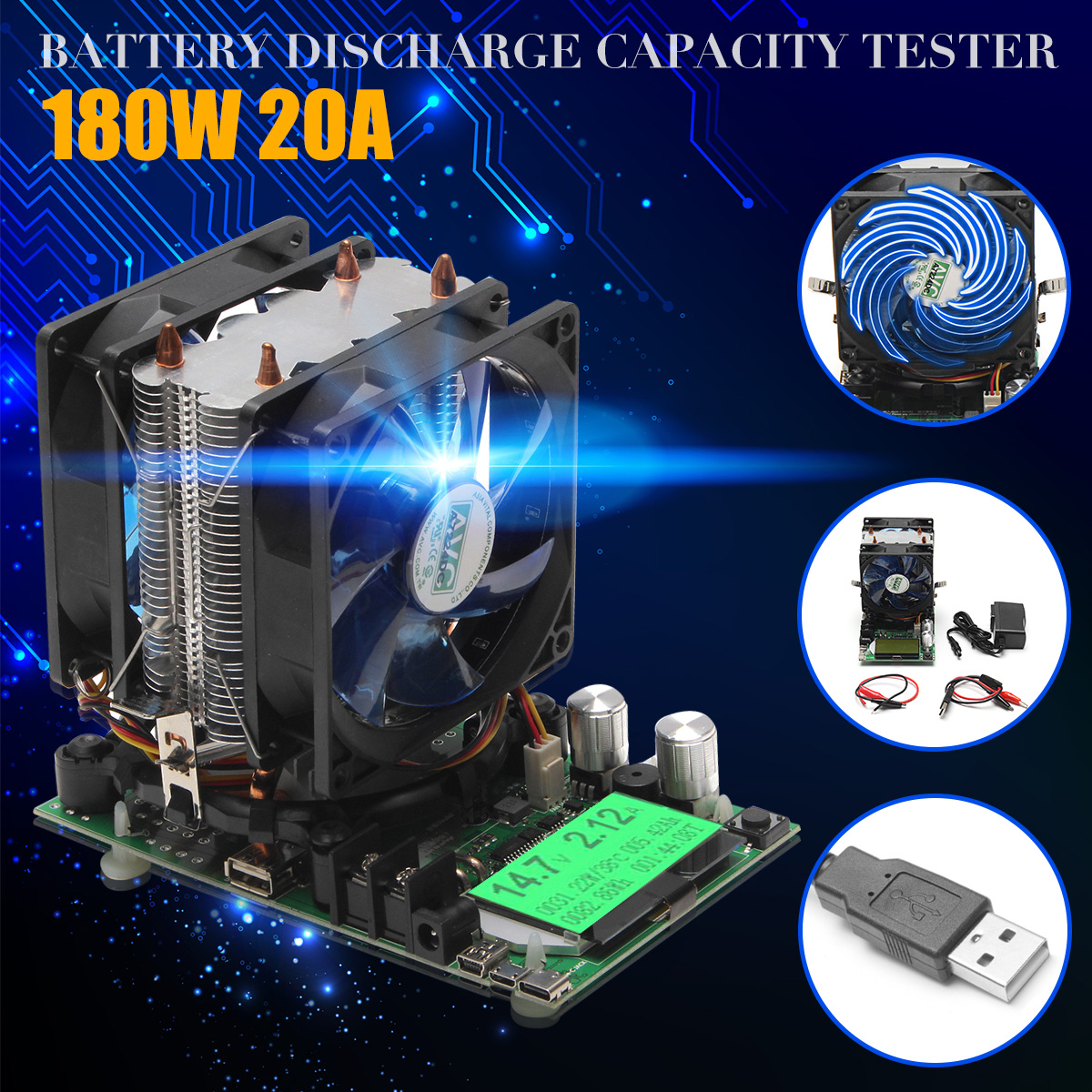 200V 20A 180W Constant Current Electronic Load Battery Discharge Capacity Tester
