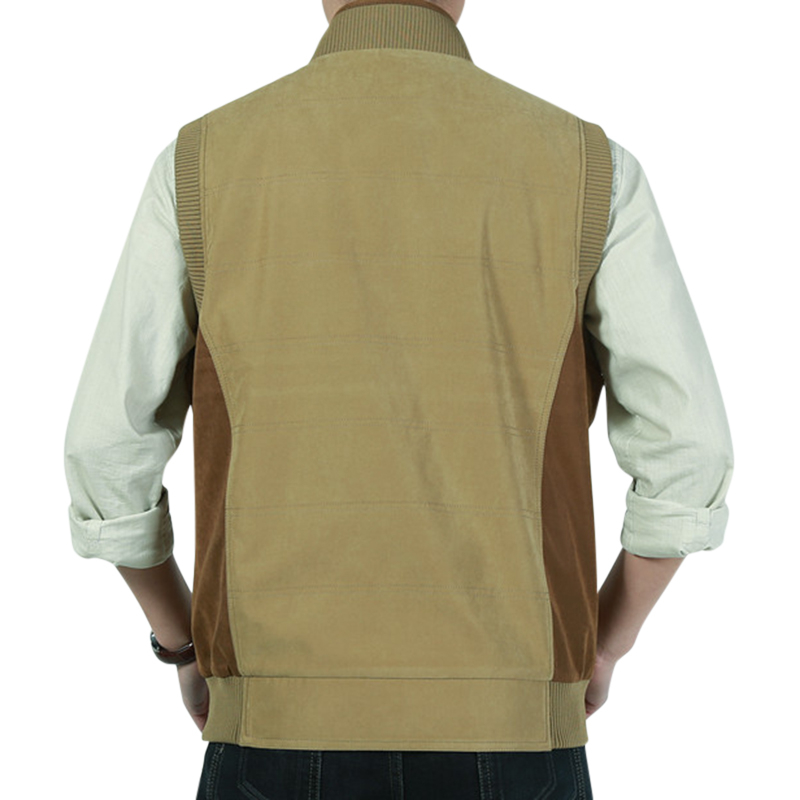 Casual Outdoor Cotton Stand Collar Vest Sleeveless Jacket