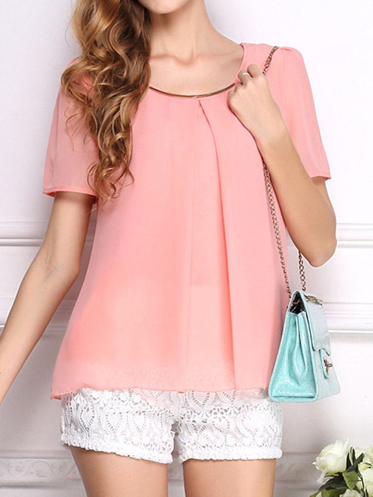Women Short Sleeve Chiffon Blouse