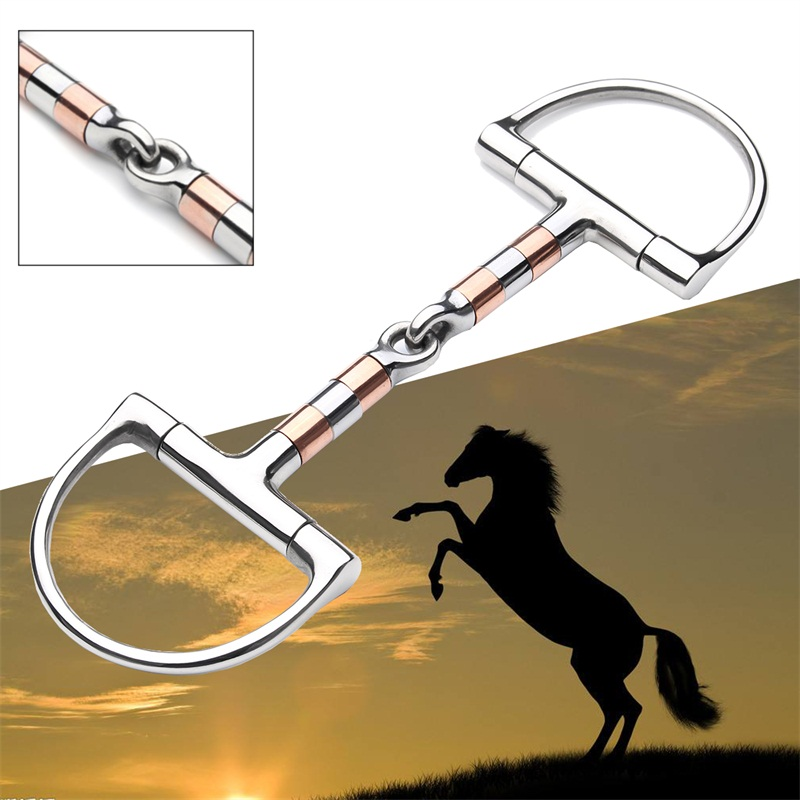 5in BT0401 Stainless Steel D Ring Horse Snaffle Bit Loose Ring Bit Horse Equipment