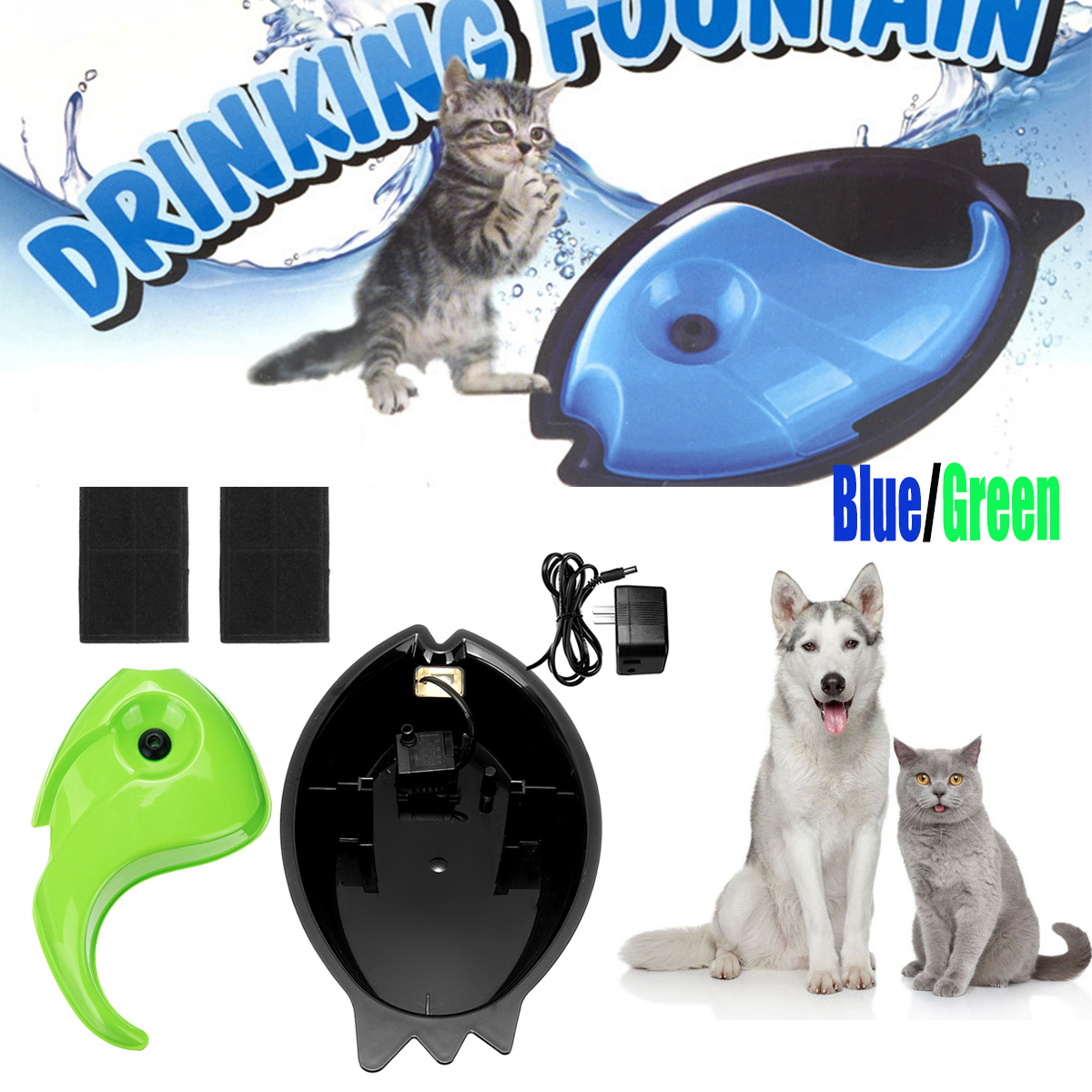 Pet Puppy Electric Circulating Drinking Water Fountain Waterer Bowl Cycle Feeder Dog Cat