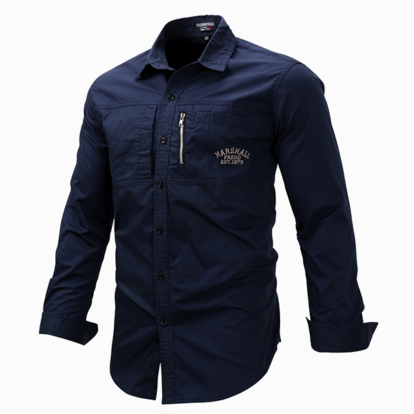 66806cfc7a3 Outdoor Military Style Chest Zipper Pocket Long Sleeve Lapel Cotton Work  Shirt for Men