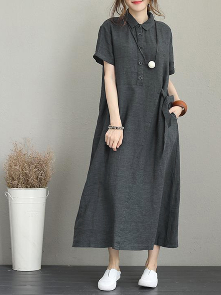 Women Casual Button Down Casual Loose Short Sleeve Dress