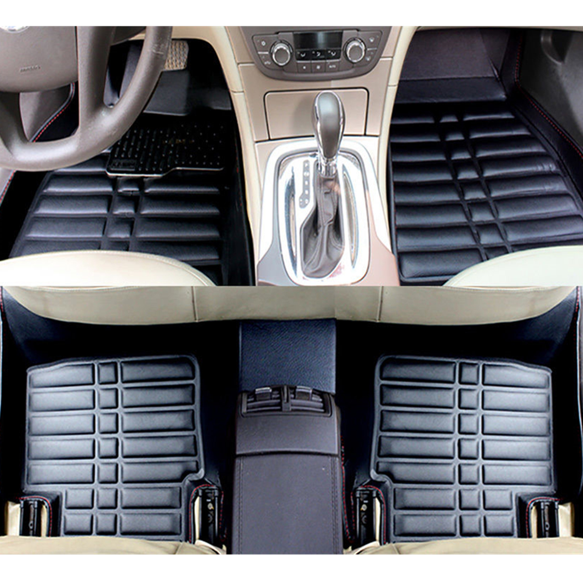 3Pcs Leather Full-Encased Car Floor Mat Front Rear Liner Waterproof for Cadillac CTS 4-Door 2008-2013