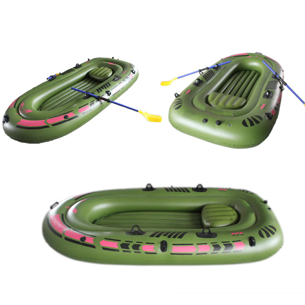 94.4''x53.9'' 3-Person PVC Rubber Green Kayak Inflatabl