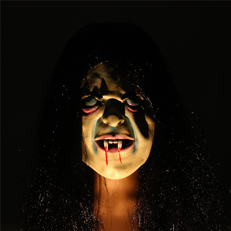 Latex Scary Long Hair Halloween Full Face Masks SADAKO Hallowmas Ghost
