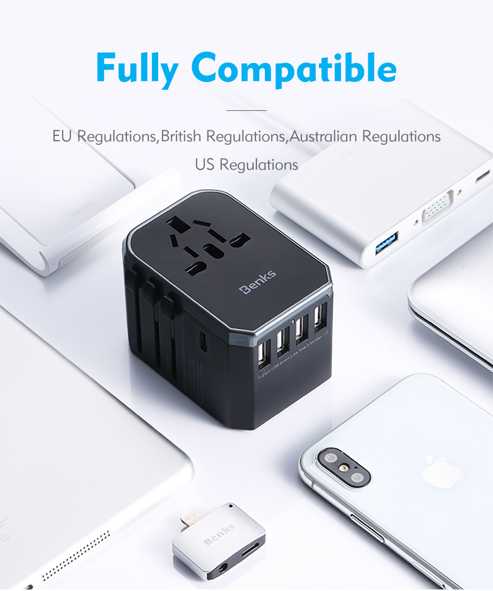 Benks 5.6A Universal Quad USB Type C Multi-function Fast Travel USB Charger US AU UK EU Adapter