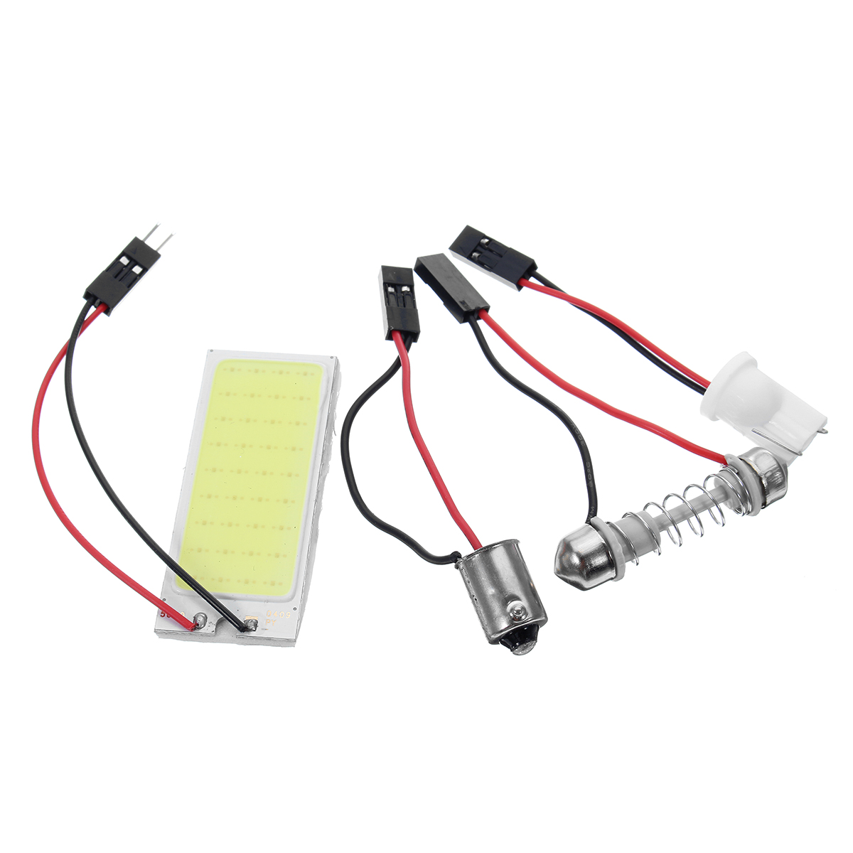 1Pcs 1.2W White 24Chips COB LED Car License Plate Lights with T10 BA9S Festoon Dome Adapter