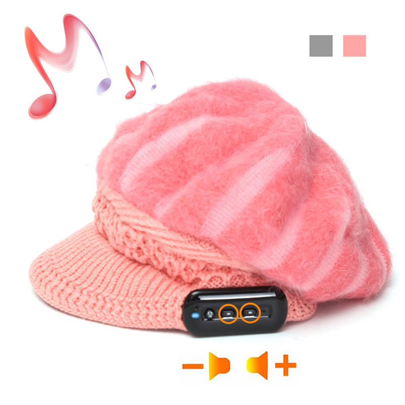 Wireless Bluetooth Smart Soft Cony Hair Headphone Cap Headset Speaker Mic Hat