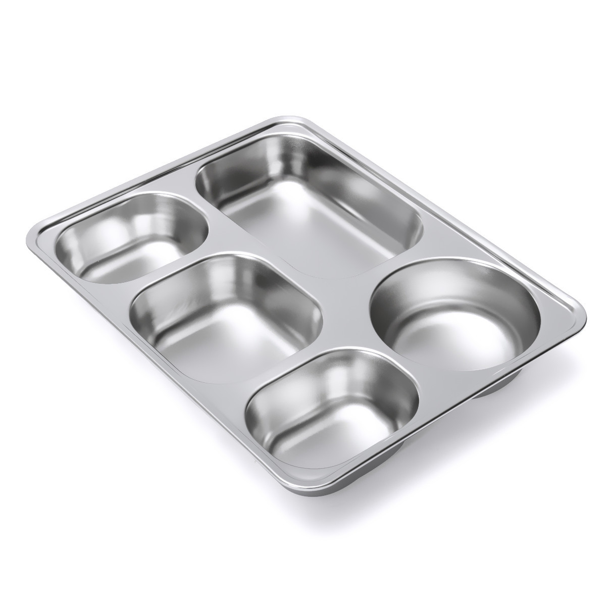 Stainless Steel Food Serving Tray Canteen Cafeteria Divided Lunch Box Bento Container with Lid