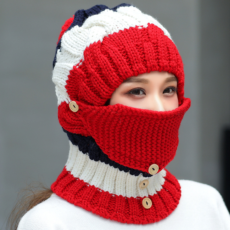 Women Winter Windproof Warm Plus Velvet Knit Hat Scarf Set
