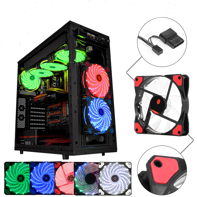 Coolmoon 12V 120mm 3Pin/4Pin LED Light Cooling Fan Computer PC Cooling Fan