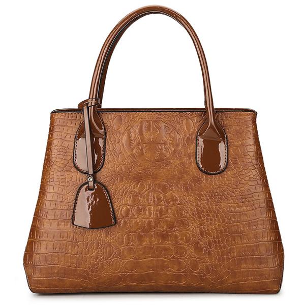 Women Crocodile High-End Vintage PU Leather Handbag Shoulder Bag