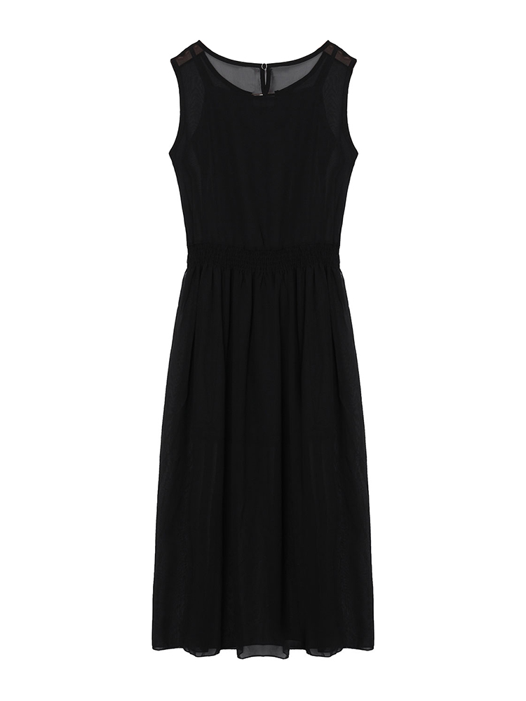 Women V Neck Sleeveless Chiffon Two-piece Tank Top Maxi Dress