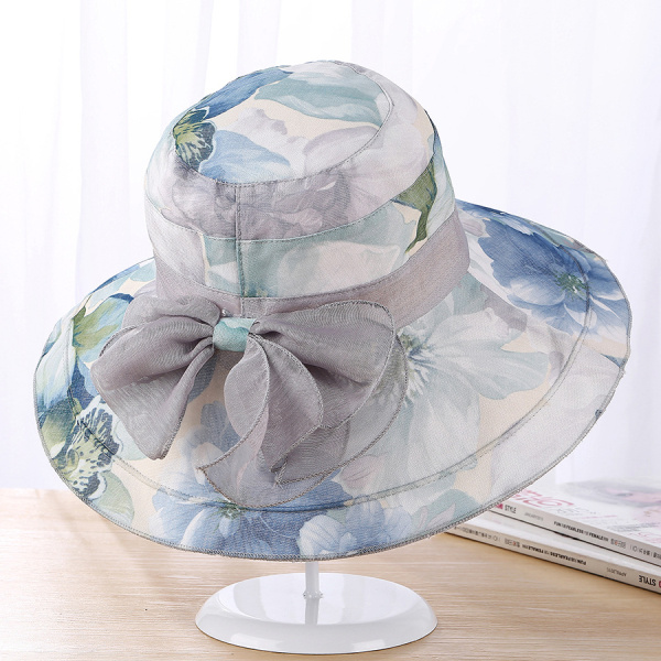 Women Lady Flowers Inkjet Wide Brim Derby Hats Bowknot Elegant Beach Anti-UV Bucket Hat