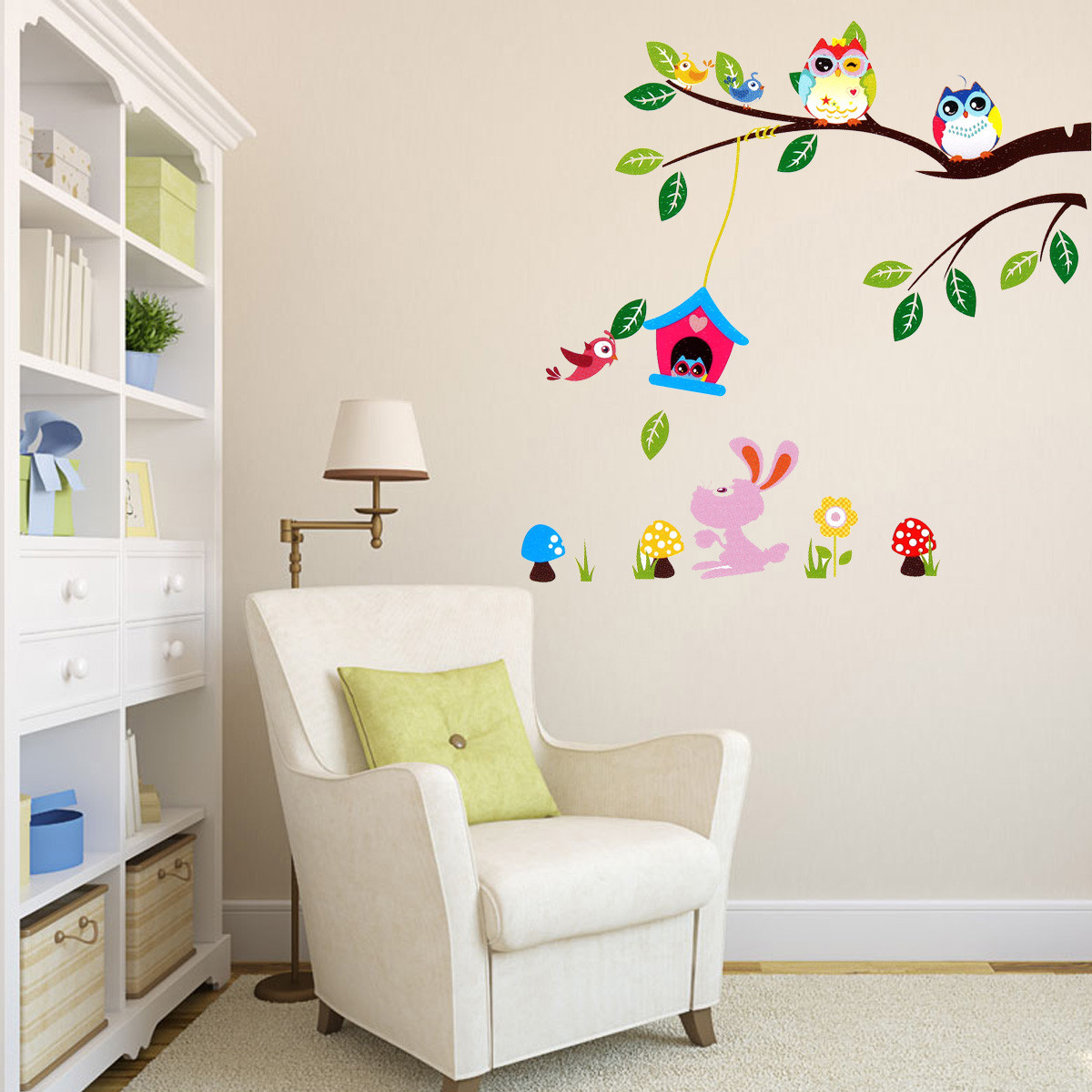 Children Kids Room Wall Sticker DIY Removable Forest Owl Tree Bird Papers Decal Art Home Decoration