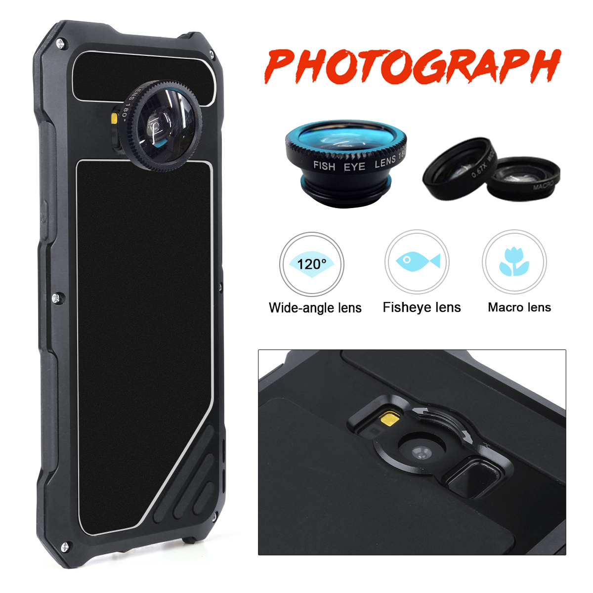 198° Fisheye Lens+15X Macro Lens+Wide Angle Lens+Aluminum Case For Samsung Galaxy S8/S8 Plus