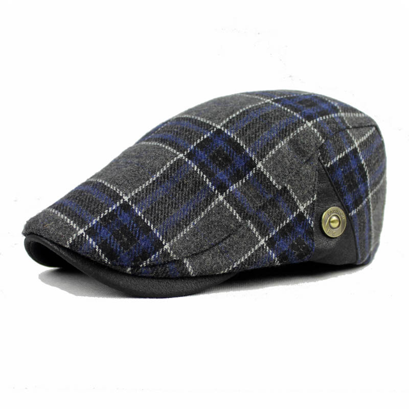 Men Male Wool Blend Newsboy Beret Cap Grid Blank Thick Flat Cowboy Cabbie Hat