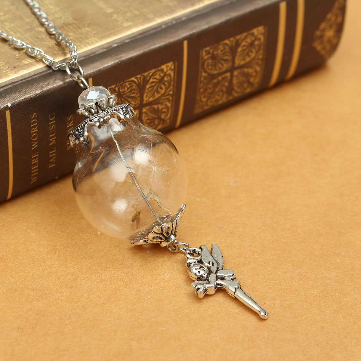 Wish Bottle Dandelion Glass Anchor Pendant Chain Sweater Necklace Jewelry