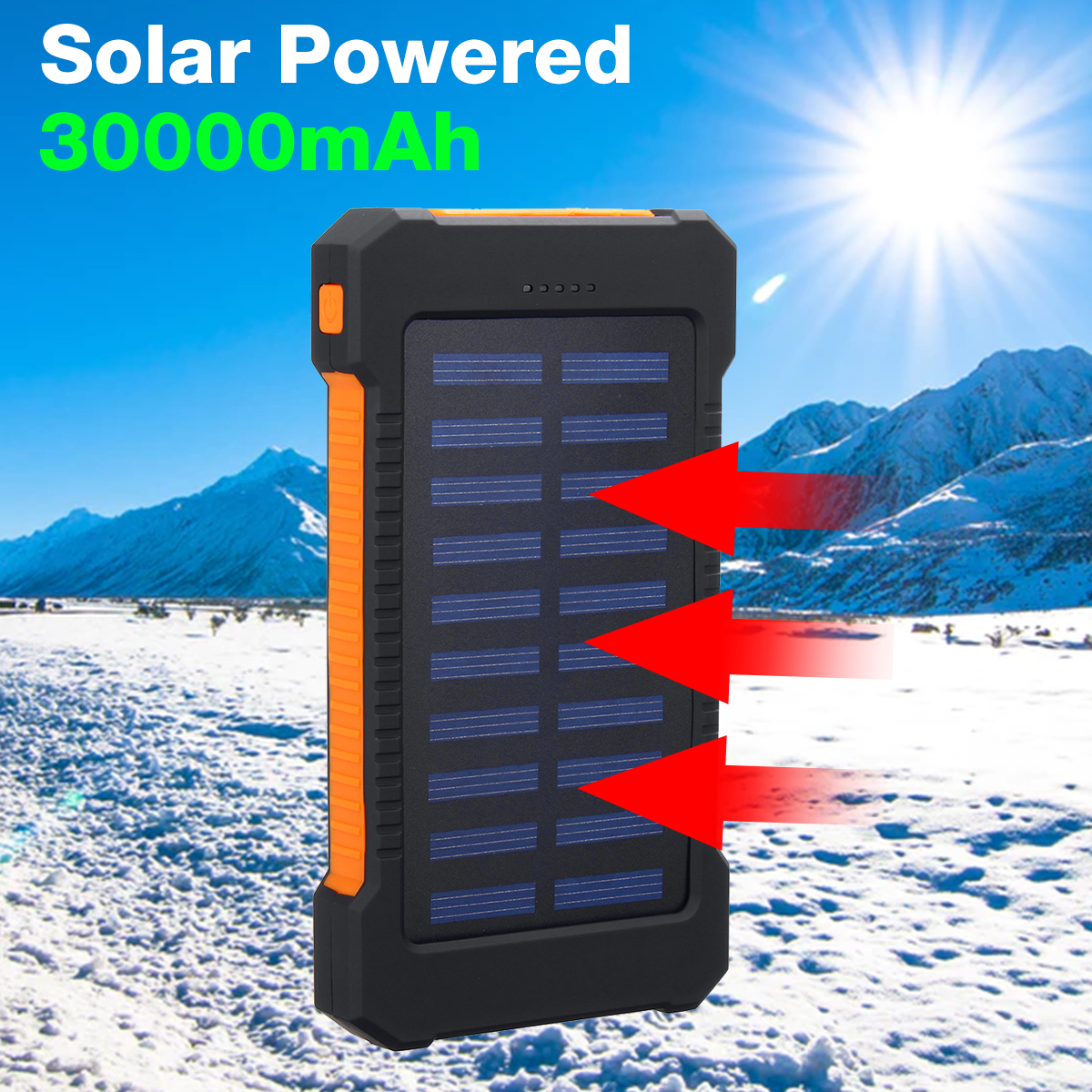 LED Compass Waterproof 6000mAh 2 USB Portable Solar Battery Charger Solar Power Bank Climbing Hook
