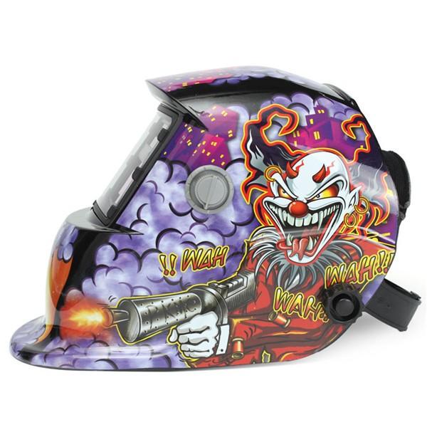 Clown With Submachine Gun Solar Welder Mask Helmet Electric Welding Auto Darkening Welding TIG MIG Welder Mask