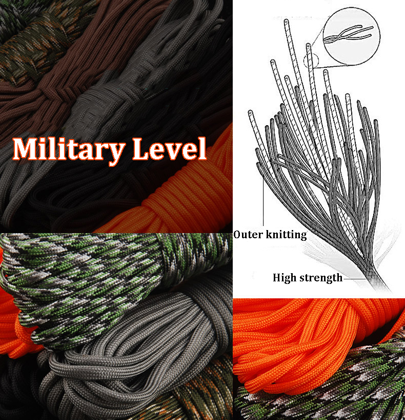 30.5M/100FT 550lb Nylon Paracord 7 Strand Core Parachute String Rope Camping Emergency Survival
