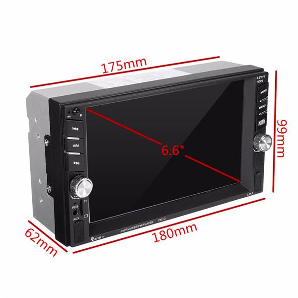 7651D 6.6 Inch 2 DIN bluetooth In Dash Car Touch MP3 MP5 FM Radio USB/TF/AUX