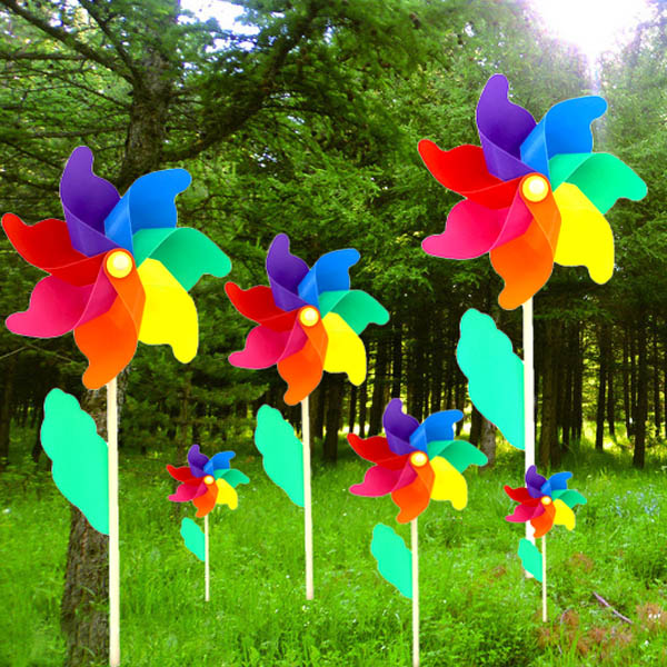 Colorful PVC Wooden Windmill Home Garden Party Wedding Decoration Kid Toy
